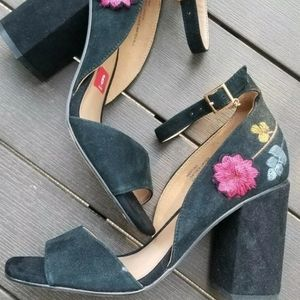 Nanette Lepore Martina Black Leather Floral Heel